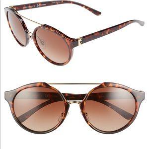 TB Dark Tortoise Round Gradient Lens Sunglasses